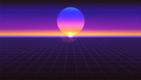 Fondo astratto futuristico di Sci fi Retro pendenza viola, stile d'annata degli anni 80 Superficie virtuale con le griglie al neo illustrazione di stock