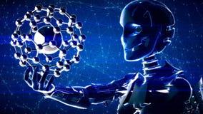 Fondo astratto futuristico di tecnologia con il robot e la molecola royalty illustrazione gratis