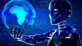Fondo astratto futuristico di tecnologia con il robot e la terra illustrazione vettoriale