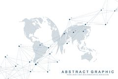 Fondo astratto geometrico con la linea ed i punti collegati Fondo del collegamento e della rete per la vostra presentazione royalty illustrazione gratis