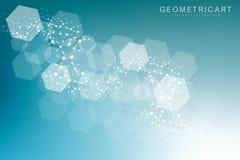 Fondo astratto geometrico con la linea ed i punti collegati Molecola e comunicazione della struttura Concetto scientifico per illustrazione vettoriale