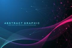 Fondo astratto geometrico con le linee ed i punti collegati Flusso di Wave Intelligenza artificiale e apprendimento automatico illustrazione di stock