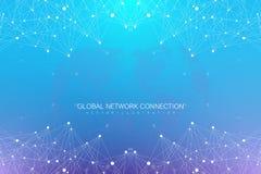 Fondo astratto geometrico con le linee ed i punti collegati Grande composizione in dati Molecola e fondo di comunicazione illustrazione vettoriale