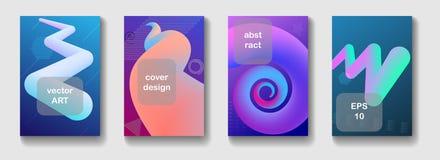 Fondo astratto geometrico minimo con le forme fluide dinamiche d'avanguardia Coperture per la rivista, opuscolo, aletta di filato illustrazione vettoriale