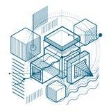 Fondo astratto isometrico con le forme dimensionali lineari, VE royalty illustrazione gratis