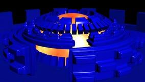 Fondo astratto 4k con la rotazione blu dei cerchi di romanzo illustrazione di stock