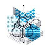 Fondo astratto lineare isometrico di vettore, astrazione allineata illustrazione vettoriale