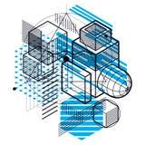 Fondo astratto lineare isometrico di vettore, astrazione allineata illustrazione di stock