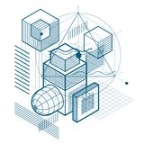 Fondo astratto lineare isometrico di vettore, astrazione allineata Cubi, esagoni, quadrati, rettangoli ed estratto differente illustrazione di stock