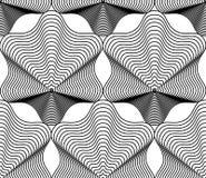 Fondo astratto monocromatico di vettore decorato con le linee nere S Fotografia Stock Libera da Diritti