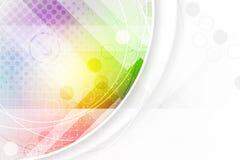 Fondo astratto nei colori dell'arcobaleno con gli elementi circolari e l'effetto di semitono Fotografie Stock Libere da Diritti