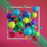Fondo astratto, palle decorative multicolori rappresentazione 3d Immagine Stock Libera da Diritti