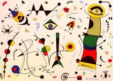 Fondo astratto, pittore del francese del ` di Miro di stile Immagini Stock