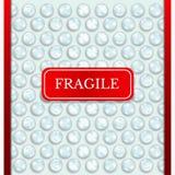 Fondo astratto realistico di struttura dell'involucro di bolla con fragile rosso illustrazione di stock