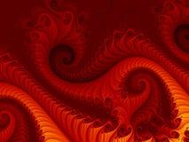 Fondo astratto rosso ardente di frattale con i modelli di turbine, somiglianti ad un drago del fuoco Immagini Stock