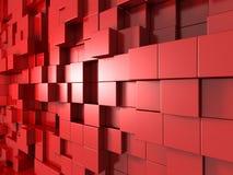 fondo astratto rosso 3d dei cubi Fotografia Stock Libera da Diritti