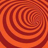 Fondo astratto a strisce del tunnel di spirale arancio Fotografia Stock