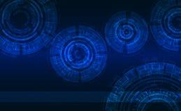 Fondo astratto tecnico: Cyrcles blu brillante su fondo con il modello esagonale Fotografia Stock