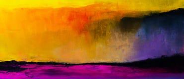 Fondo astratto variopinto della pittura a olio Olio su struttura della tela Immagini Stock Libere da Diritti