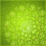 Fondo astratto verde dell'ornamento floreale Immagini Stock
