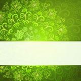 Fondo astratto verde dell'ornamento floreale Fotografia Stock