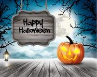 Fondo asustadizo de Halloween con las calabazas y la muestra de madera stock de ilustración