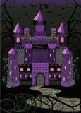 Fondo asustadizo del castillo de la vieja bruja Fotografía de archivo