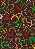 Fondo attraversato delle siluette delle armi Fotografia Stock Libera da Diritti