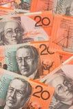 Fondo australiano de los billetes de banco del dinero en circulación $20 Imagen de archivo