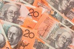 Fondo australiano de los billetes de banco del dinero en circulación $20 Imagenes de archivo