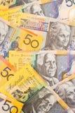 Fondo australiano de los billetes de banco del dinero en circulación $50 Imagenes de archivo