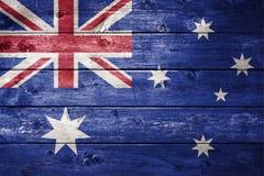 Fondo australiano di legno della bandiera Fotografia Stock