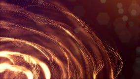 Fondo avvolto delle particelle luminose, il tema del microworld o dello spazio, la fantascienza o un bello misterioso video d archivio