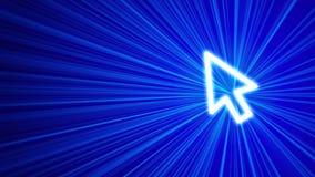 fondo azul 3D con el icono del cursor Foto de archivo libre de regalías