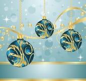 Fondo azul abstracto con las bolas de la Navidad Fotos de archivo libres de regalías