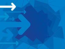 Fondo azul abstracto con las flechas Fotografía de archivo libre de regalías