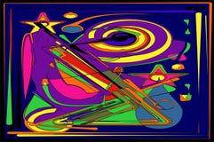 Fondo azul abstracto con las formas dinámicas coloridas 17 -259 Foto de archivo libre de regalías