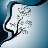 Fondo azul abstracto con las rosas Fotografía de archivo