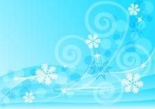 Fondo azul abstracto con los copos de nieve libre illustration
