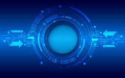 Fondo azul abstracto con los diversos elementos de la tecnología ilustración del vector