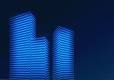 Fondo azul abstracto con los edificios Ilustración del vector stock de ilustración