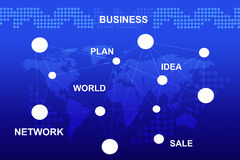 Fondo azul abstracto con palabras del negocio Imagenes de archivo