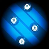Fondo azul abstracto con símbolos corporativos del contacto Foto de archivo libre de regalías