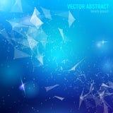fondo azul abstracto de la malla 3D con las líneas, las llamaradas de la lente y las reflexiones que brillan intensamente Foto de archivo libre de regalías