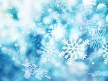 Fondo azul abstracto de la Navidad que brilla intensamente con los copos de nieve libre illustration