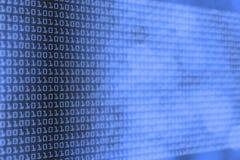 Fondo azul abstracto de la tecnología con el código binario y el bokeh g Fotografía de archivo libre de regalías