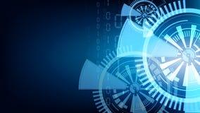 Fondo azul abstracto de matriz de tecnología del vector Imagenes de archivo