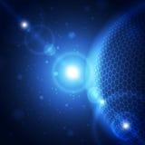 Fondo azul abstracto del concepto de la tecnología, ejemplo del vector Foto de archivo