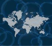 Fondo azul abstracto del mapa del mundo Fondo de la tecnología Imagen de archivo