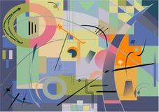Fondo azul abstracto, inspirado por el pintor kandinsky Fotografía de archivo